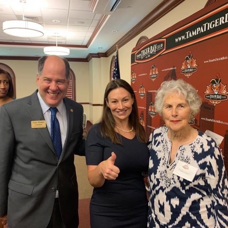 Gary invited State Agricultural Commissioner Nikki Fried to speak at Tiger Bay Club. Pictured on the right is Peggy Land. Gary is the former President of Tampa Tiger Bay Club.