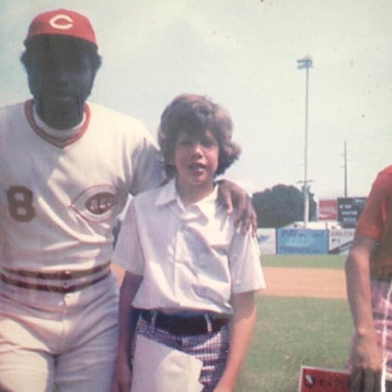 Gary posed with Hall of Famer, Joe Morgan, one of his childhood heroes at Al Lopez Field in 1975.