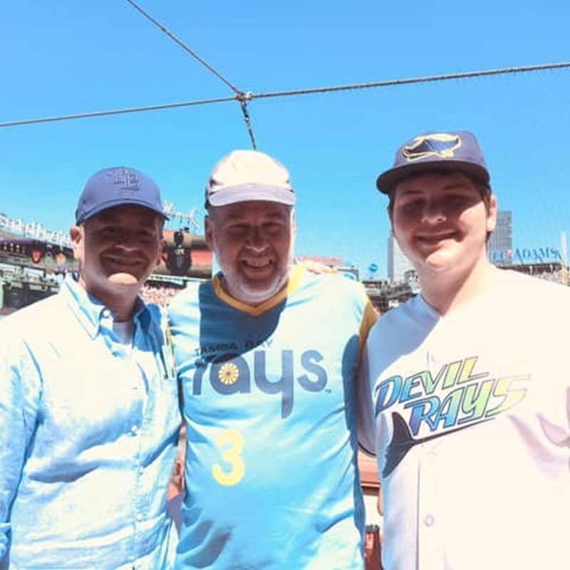 Gary and his son Ari with the owner of the Tampa Bay Rays Stu Sternberg at Fenway Park in Boston. What great company to cheer on our team!