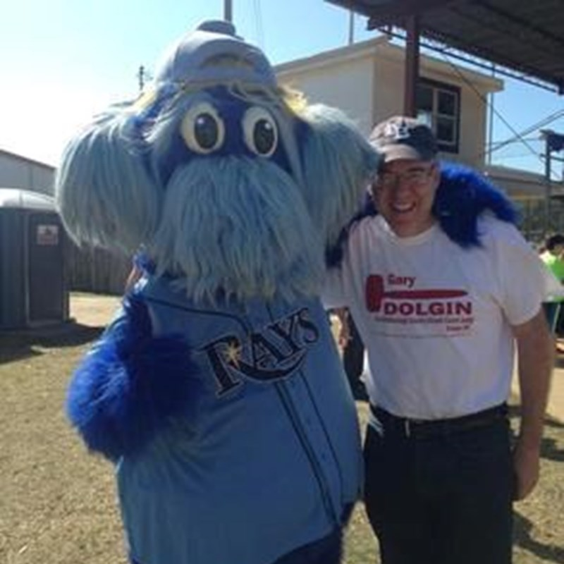 Gary pictured here with the Rays mascot, Raymond