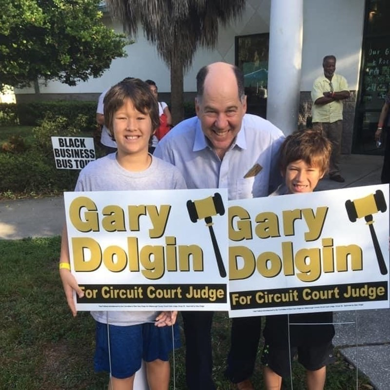 Gary with two of Tampa City Councilman, Bill Carlson's sons. Gary is honored to have Bill's endorsement.
