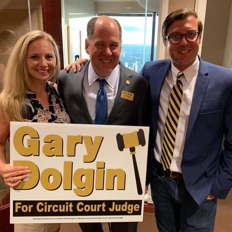Gary with Faithe Estes, with Tucker Hall and campaign aide, Michael Newberger.