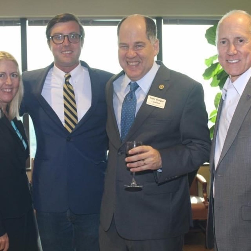 Gary with attorney Samantha Dammer, campaign aide, Michael Newberger, and Pilot Bank CEO, Roy Hellwege.
