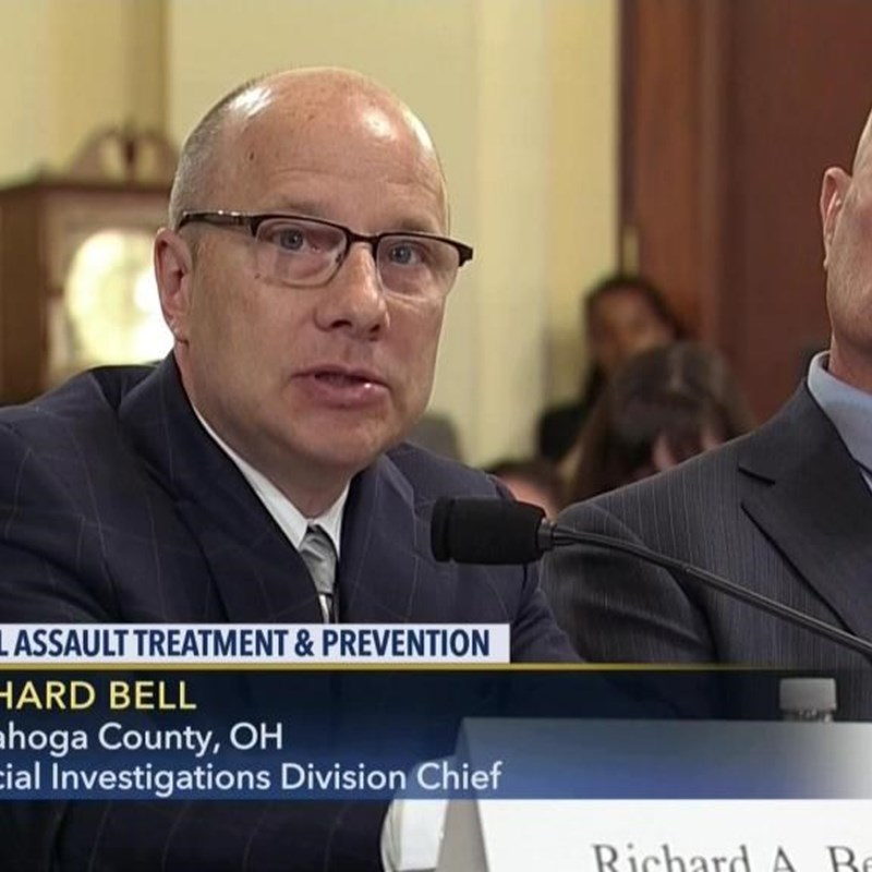Rick Bell, Director of the Cold Case Unit---Rape Kit Task Force testifying before the Congressional Bi-Partisan Committee toe End Violence Against Women. Asking Congress to fund other RapeKit TaskForces around the Country so they can have the success Cuyahoga County has had.