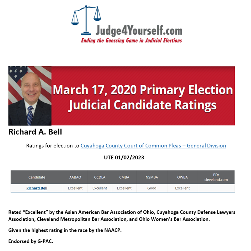 For the Primary Election, March 17th, 2020, Richard A. Bell received the highest ratings in his race. Judge4Yourself.com
