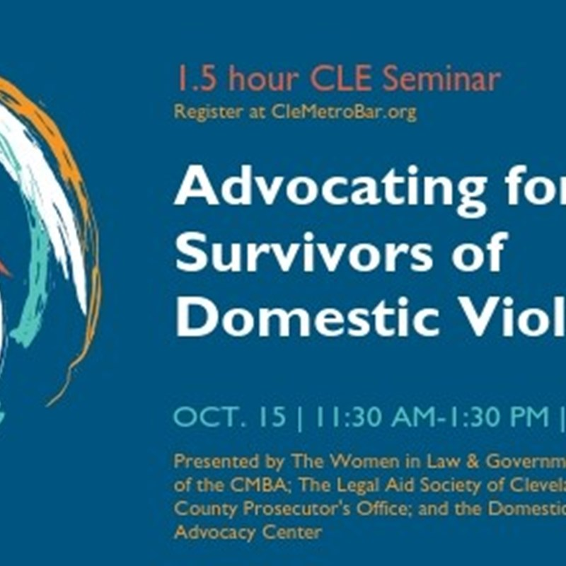 "On Tuesday, October 15th, I will be presenting on behalf of the Cuyahoga County Prosecutor's Office for a 1.5 hour CLE Seminar on ""Advocating for Survivors of Domestic Violence.""  The topic presented includes: Advocating for your client when they are a survivor of domestic violence requires special skills and knowledge to ensure their needs are being met with zealousness and compassion. Our panel of experts will present on best practices, whom to contact, how to navigate resources, filing TROs, and ethical responsibilities for attorneys when victims and abusers come to their office.  This topic is presented by: The Women in Law & Government Attorneys Sections of the CMBA; The Legal Aid Society of Cleveland; the Cuyahoga County Prosecutor's Office; and the Domestic Violence & Child Advocacy Center (DVCAC).  Some faculty members who will also be presenting include:  Jeanette Pellot-Ayala, Cuyahoga County Prosecutor's Office Alexandria M. Ruden, The Legal Aid Society of Cleveland Megan Gergen, Domestic Violence & Child Advocacy Center (DVCAC) Moderator: Mallory Rohr, Vorys, Sater, Seymour and Pease LLP"