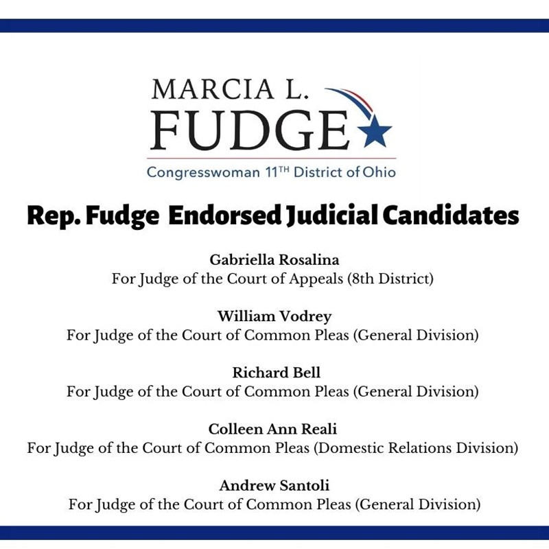 Thank you Rep. Marcia L. Fudge for endorsing my campaign for the Court of Common Pleas! I hope to make your constituents proud as a Judge on the Court of Common Pleas. Vote Richard Bell in 2020!