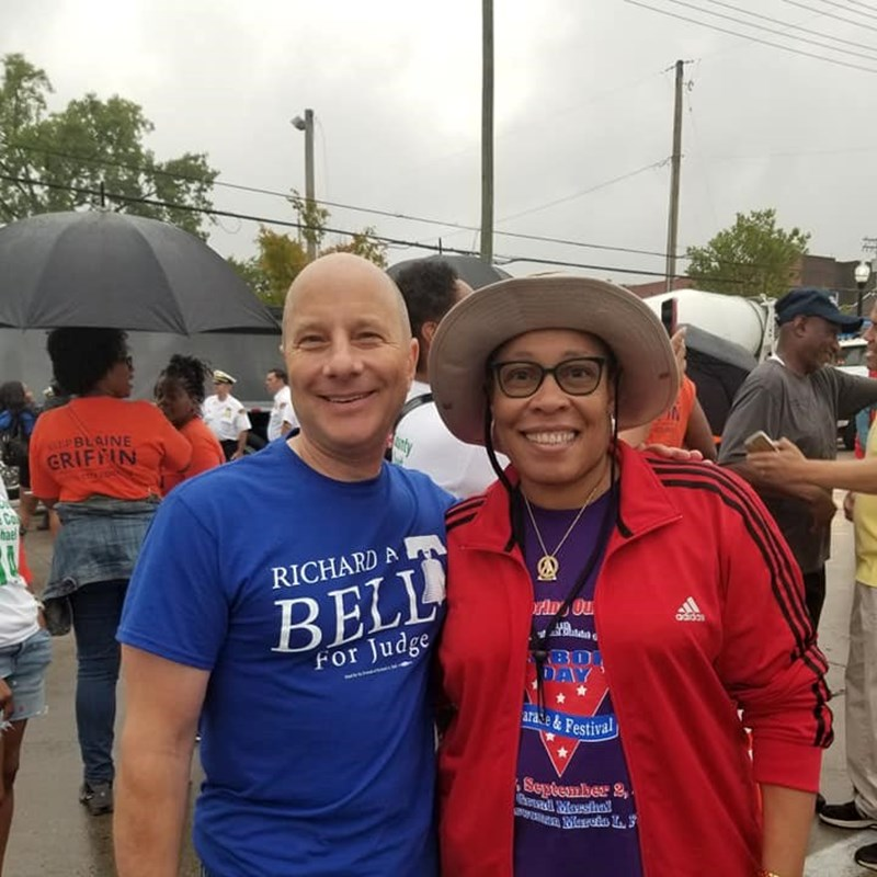 Richard Bell with Congresswomen Marcia Fudge at the her Labor Day Parade for her Congressional District.
