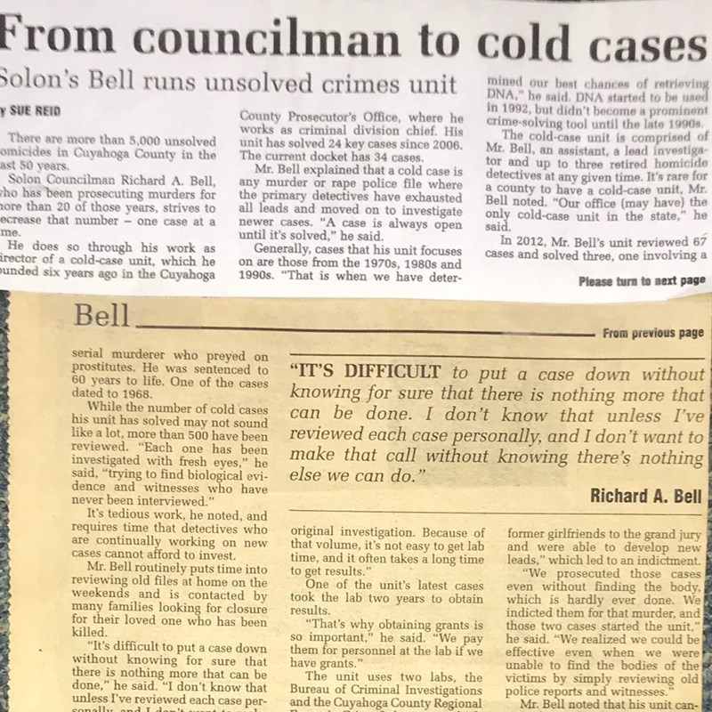 Local Sun newspaper Article about our Office's Cold Case Homicide Unit. Our investigators work very hard to bring justice for victims' families.