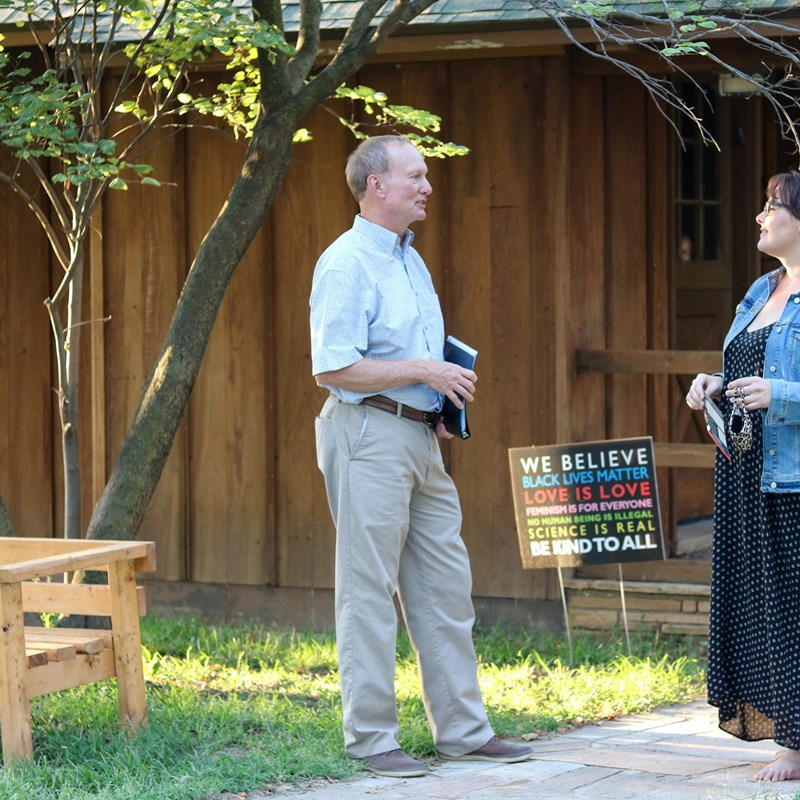 Jeff visiting a Kansas House District 114 voter at her home.