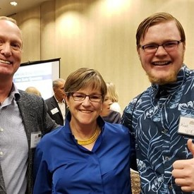 Jeff with Governor Kelly and Join Jeff for a Better Kansas campaign volunteer, Kian.