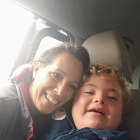 Cyndi and her son Jacob on Election Day 2018