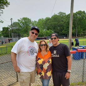 Cyndi with two of her OTHS class of 85 alumni volunteering with Challenger Baseball