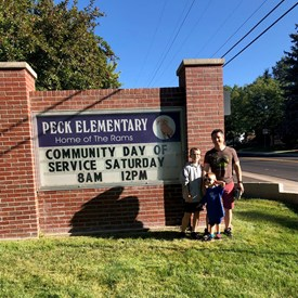 Helping out during Peck Elementary Day of Service.