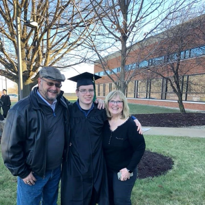 Steve, Nancy and grandson Jarett, Graduation from University of Wisconsin, Parkside. December 2018