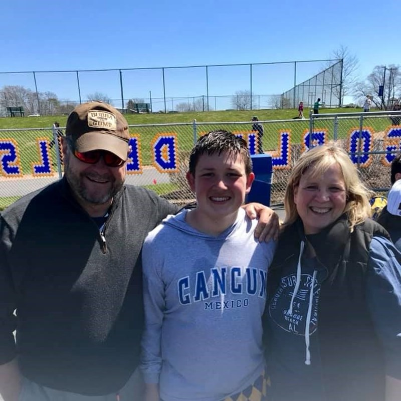 With Nancy and Grandson Andy after Warren Football game. We won!!