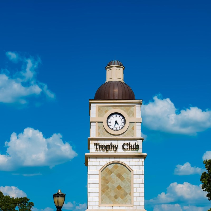 The Trophy Club Clock Tower on July 4th