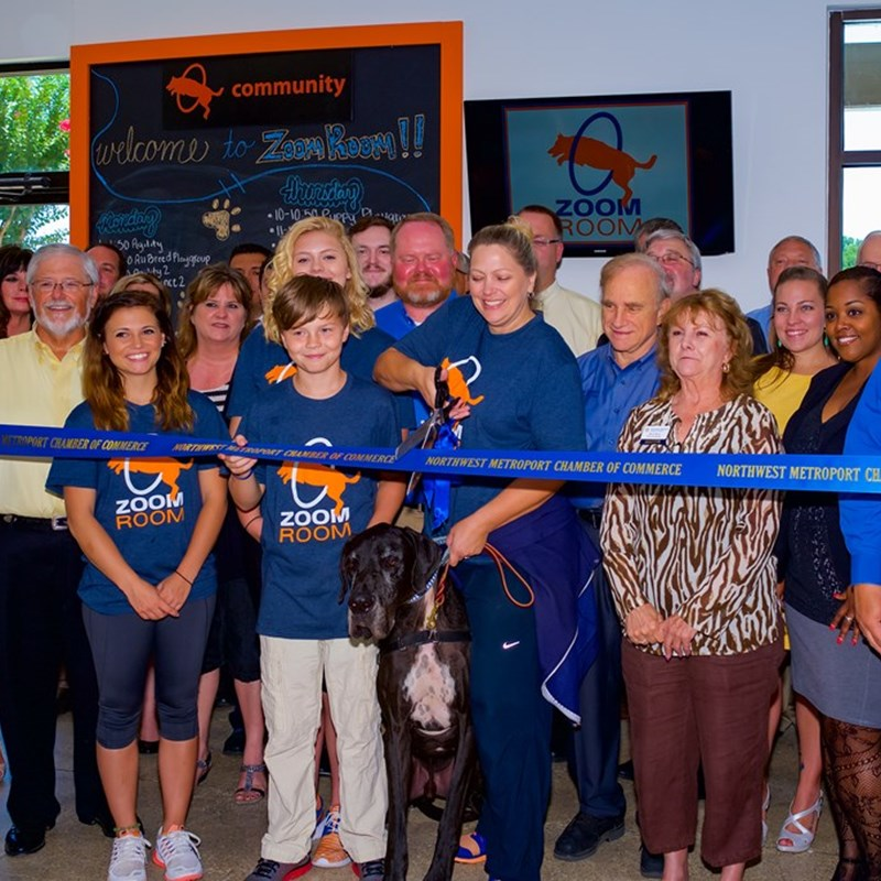 Ribbon Cutting at Zoom Dog Training Facility.