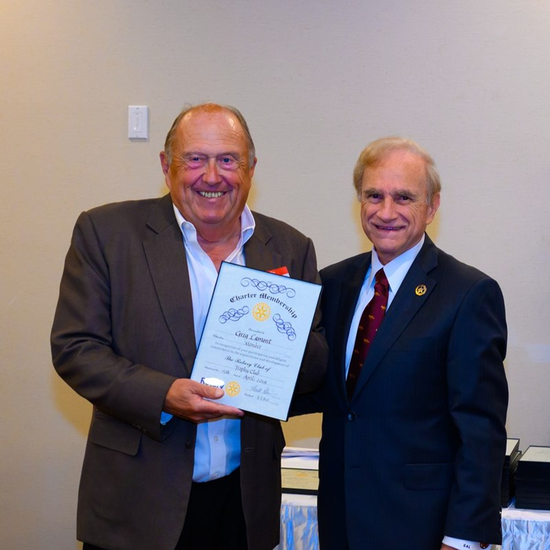 Receiving my Charter Membership for the Trophy Club Rotary