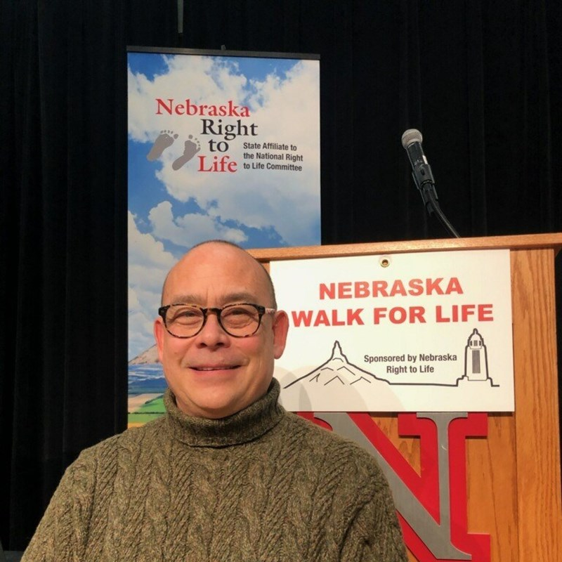 David at Nebraska Right to Life booth after march.