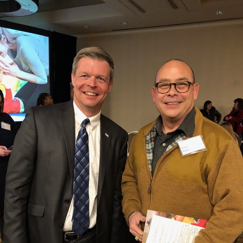 David with John Spatz, Executive Director, Nebraska Association of School Boards who is explaining his vision of community investment in early childhood education.