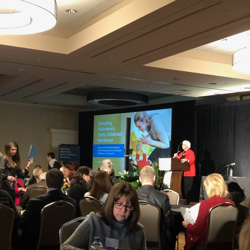Commission co-chair Marjorie Kostelnik welcoming attendees to the Elevating Nebraska's Early Childhood Workforce and its Recommendations of the Nebraska Early Childhood Workforce Commission