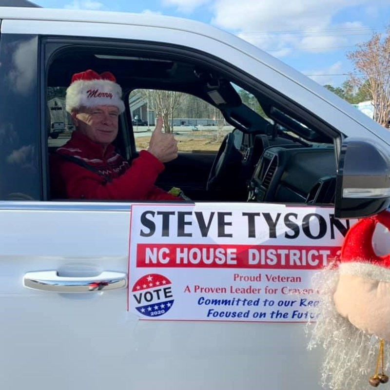 Steve greeted the crowd at the Havelock Christmas Parade on December 7, 2019.
