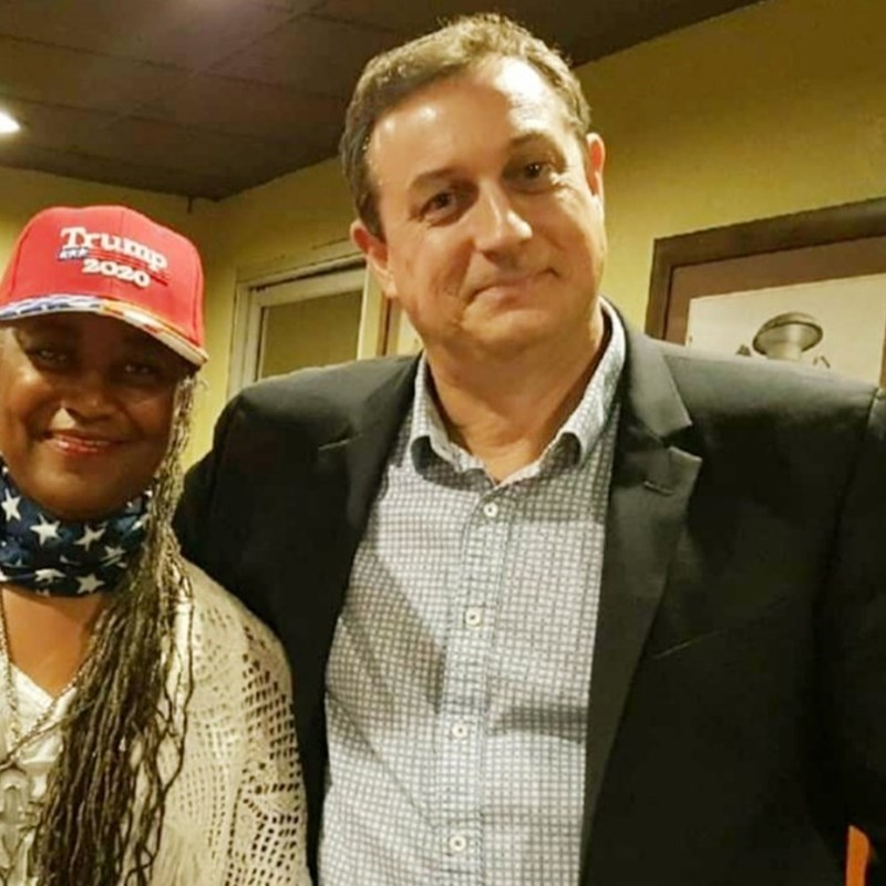 Lady Cage-Barile, Membership Secretary with South Los Angeles-Inglewood Republican Assembly guest Mr. Kenneth Jenks. U.S. Congressional candidate for California's 25th District. attending a SLAIRA meeting.