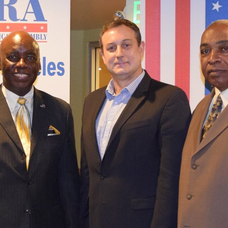 Left to right: Johnnie Morgan, President, California Republican Assembly (CRA), Kenneth Jenks, Candidate for U. S. Congress and James Spencer, President, South Los Angeles - Inglewood Republican Assembly (SLAIRA). Jenks addressed SLAIRA members during their monthly meeting at Denny's Restaurant in Culver City, CA.  Lady Cage-Barile, Membership Secretary with South Los Angeles-Inglewood Republican Assembly and mentor with guest Mr. Kenneth Jenks. U.S. Congressional candidate for California's 25th District.