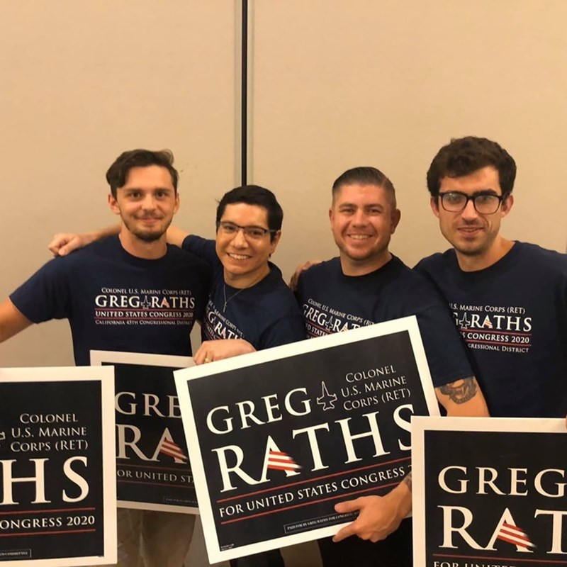 Ben Chapman with Orange Coast College students supporting Mission Viejo Greg Raths for Congress in the 45th Congressional District.