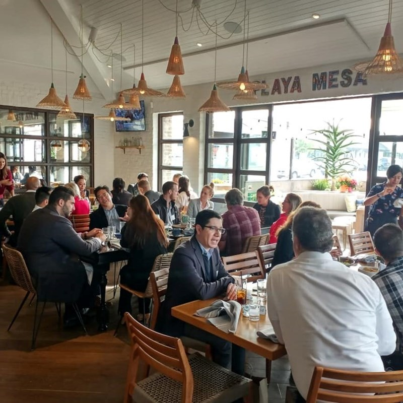 Monthly Costa Mesa Chamber of Commerce luncheon at Playa Mesa restaurant.