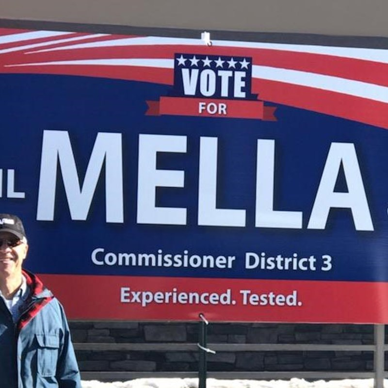 Phil with his first campaign banner outside Republican headquarters in Woodland Park.