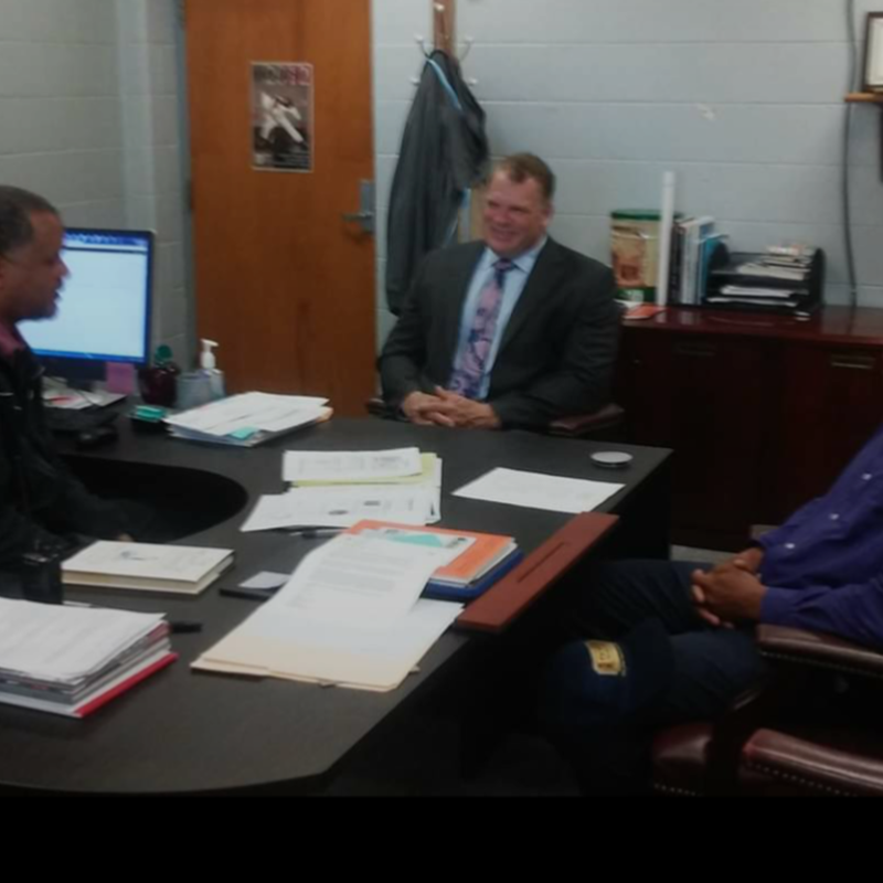 Working with Mayor Jacobs and AE High Principal Mr. Langlois.