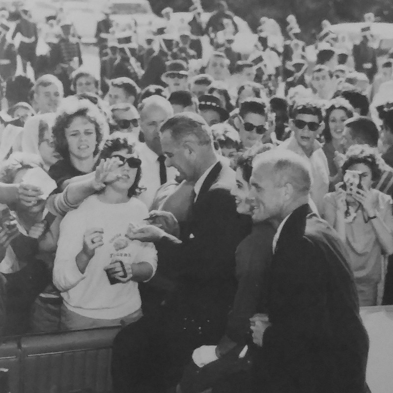 John Glenn, LBJ and Molly (in sunglasses) at parade on A1A in Cocoa Beach
