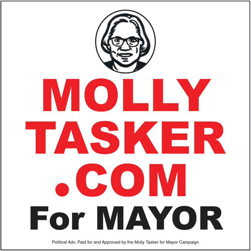 Campaign sign designed by artist Spence Guerin