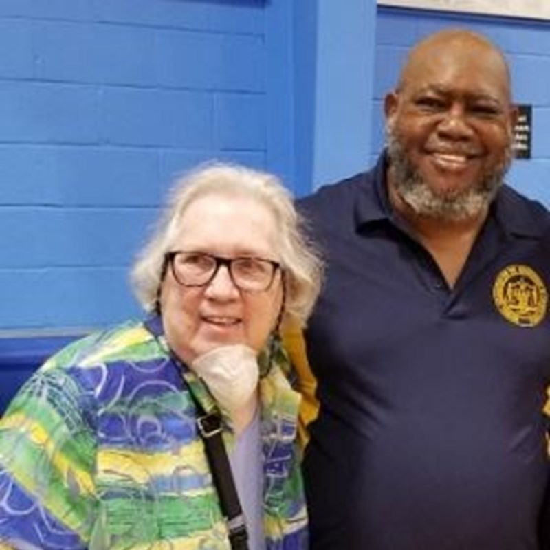 Molly with James Minus, President Central Brevard NAACP at the Melbourne Police Community Dialogue, June 11, 2020