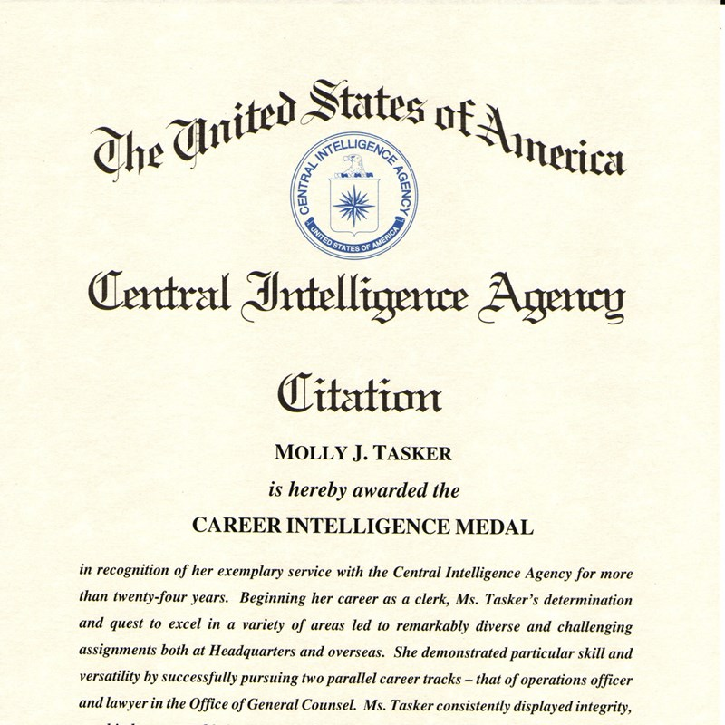 U.S.A. Central Intelligence Agency Citation awarded to Molly for Career Intelligence Medal