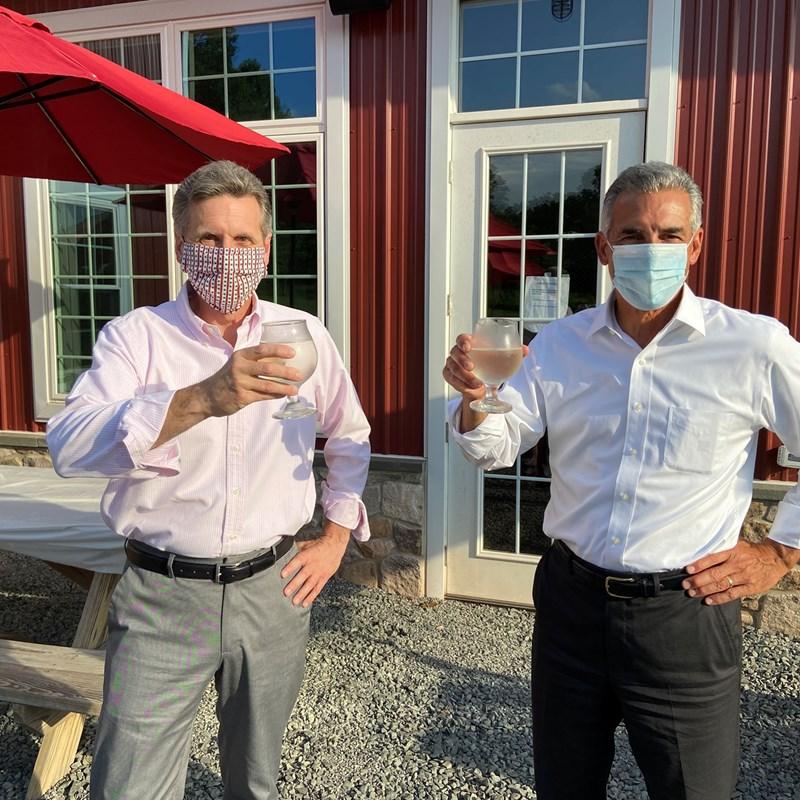 Raising a glass while smiling under our masks. That's me with Jack Ciattarelli, former Somerset County Freeholder who is running to be New Jersey's next Governor.