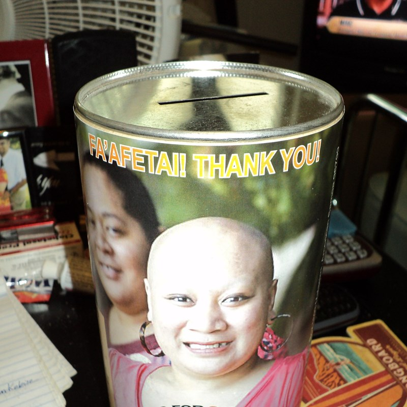 Coin-Bank fundraiser placed at different Store locations around the Territory of American Samoa