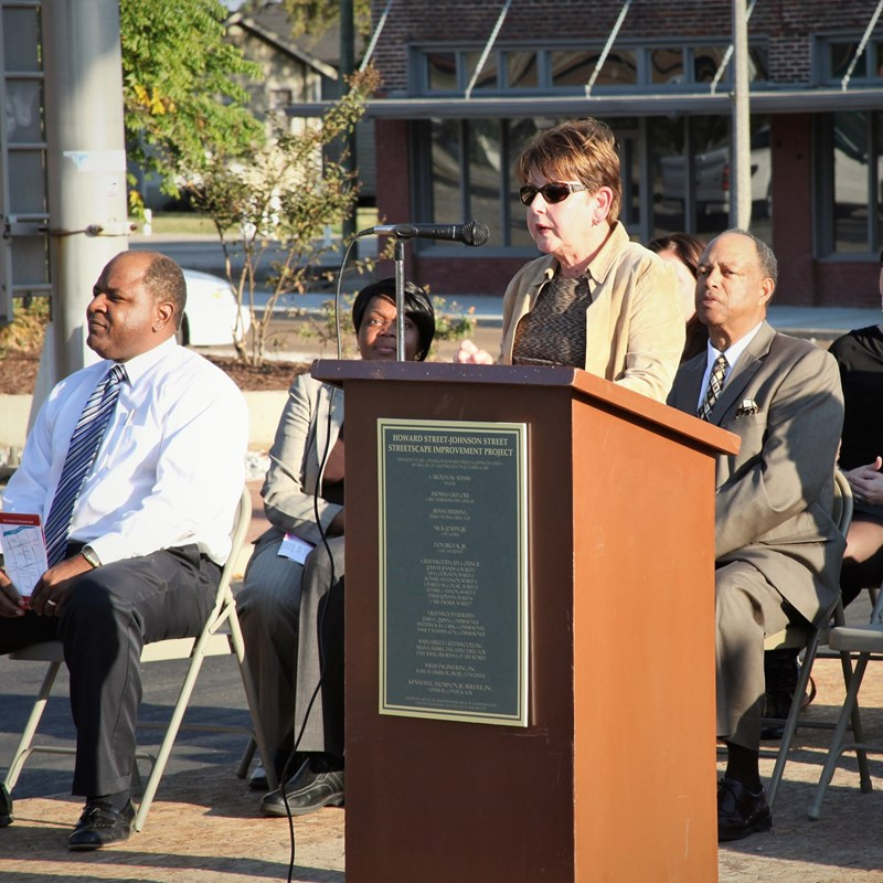 Carolyn speaks at the ribbon cutting ceremony for the Howard-Johnson Streetscape Improvement Project.