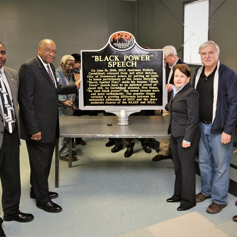 Carolyn and city councilmembers unveil the Black Power marker for the Mississippi Freedom Trail.