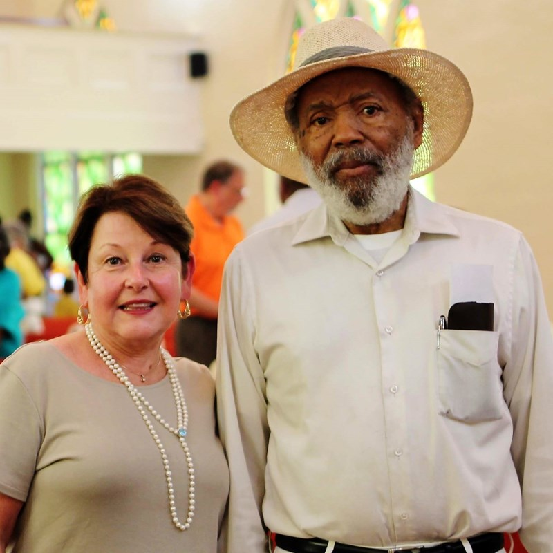 Carolyn visits with civil rights pioneer James Meredith during a visit to Greenwood.