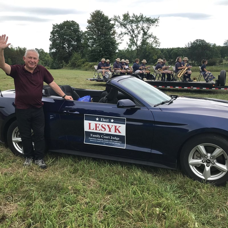 Right before the Heuvelton Summer Parade - it started raining just as we got going, but we still had fun!  That's the Central NY (CNY) Police and Fire Band behind us - they came from Syracuse to join us!